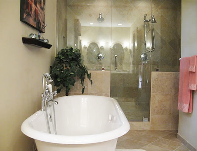 Bathroom with large soaking tub