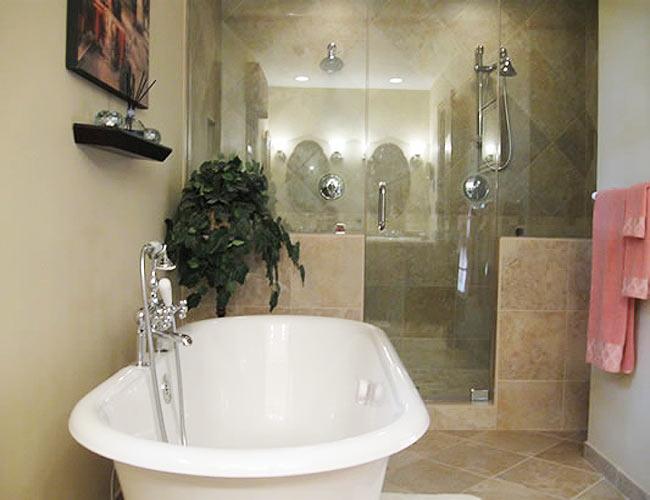 Bathroom with large soaking tub