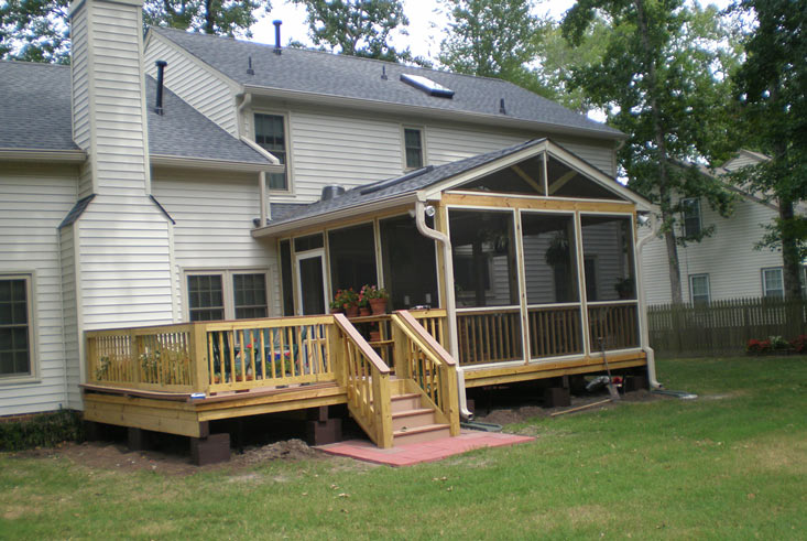 covered, screened in porch and deck