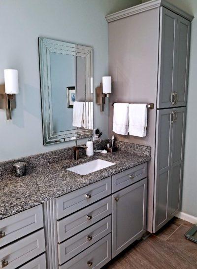 master bathroom vanity and cabinets