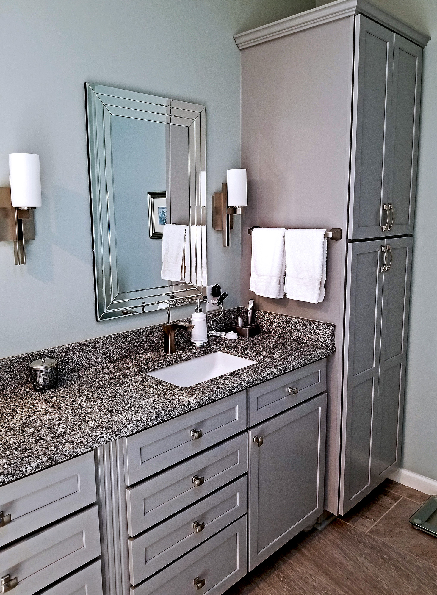 master bathroom vanity and cabinets