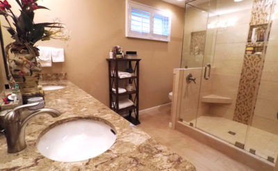 Master bathroom with large walk-in shower