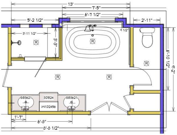 Master bathroom plan - drawing