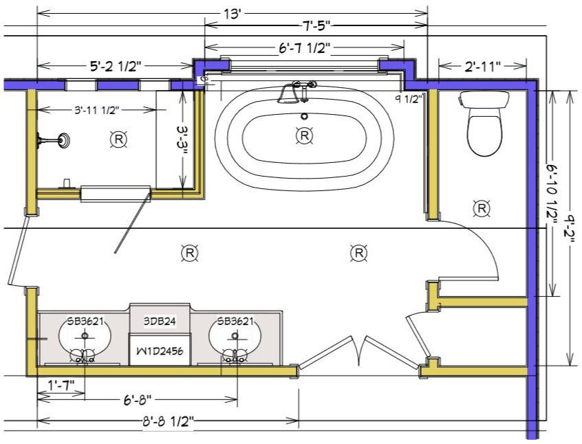 Master bathroom plan - drawing