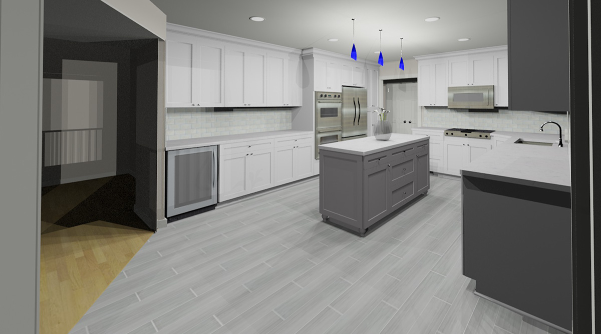 3D kitchen rendering - view 1