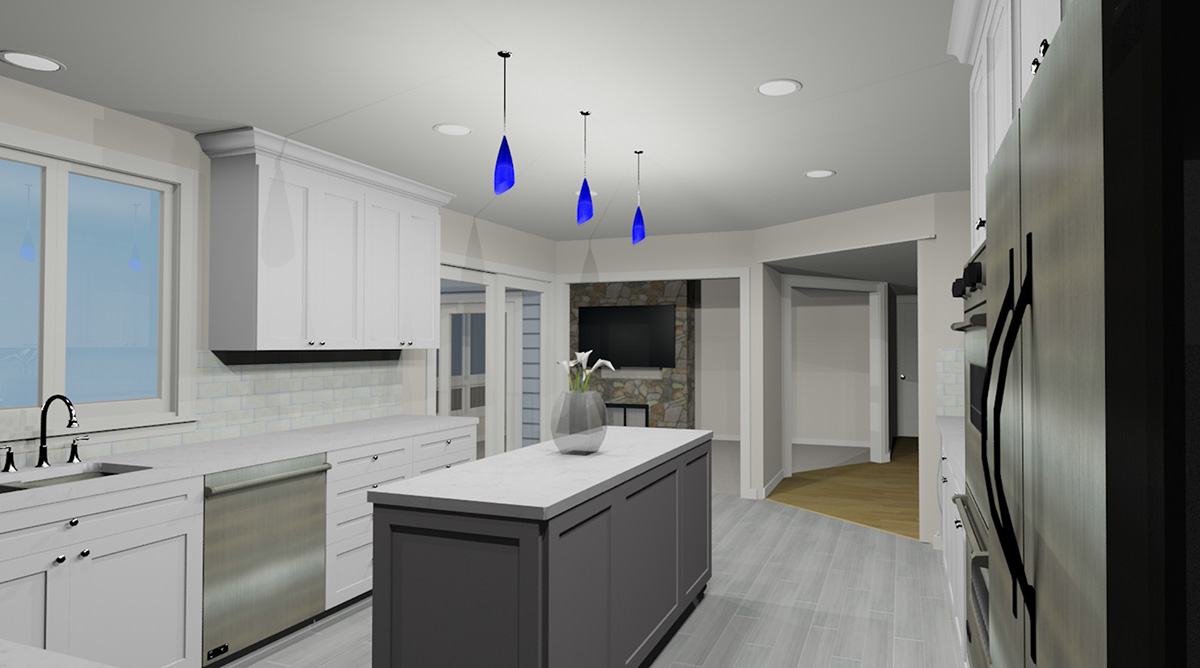 3D kitchen rendering - view 2