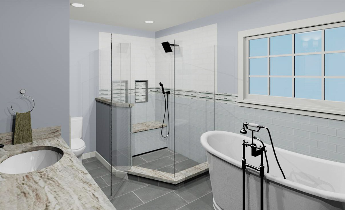 Master Bath 3D Rendering View 1