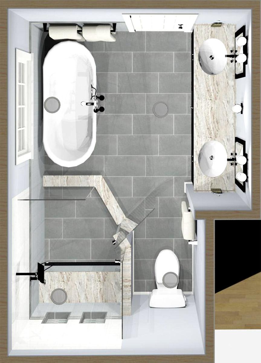 Master Bath 3D Rendering Top Down View