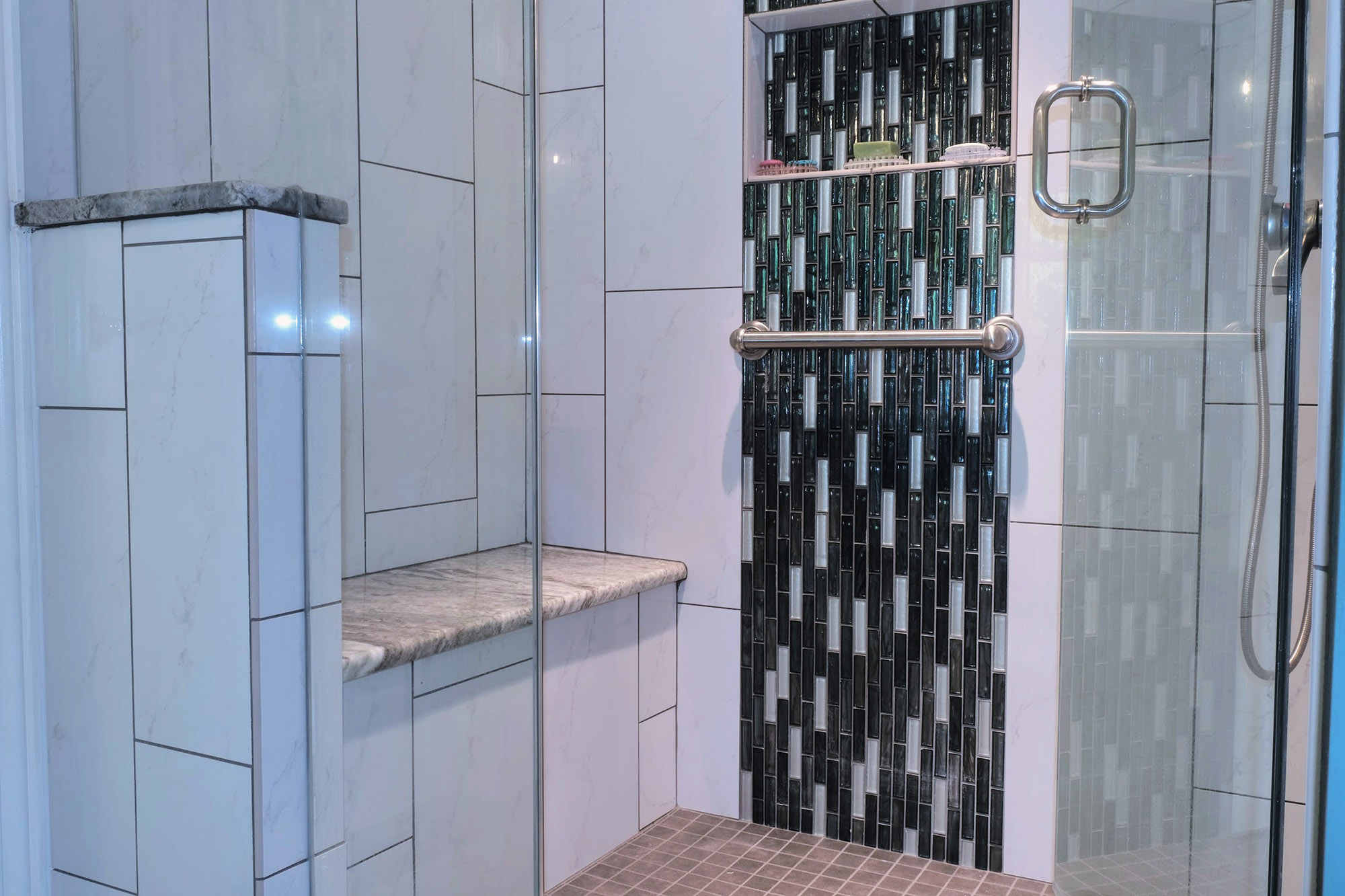 Large Walk-in shower with bench seating