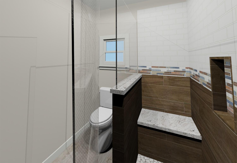 Hall Bath 3D Rendering - Shower