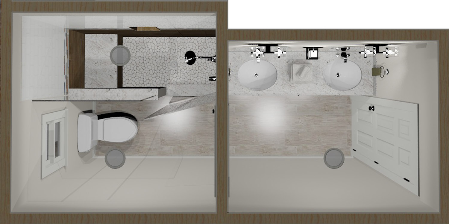 Hall Bath 3D Rendering Top View