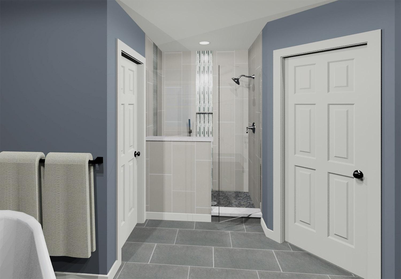 Master Bath 3D Rendering-Shower