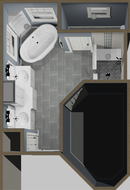 Master Bath 3D Rendering top veiw